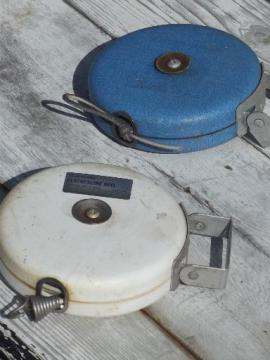 vintage retractable clothesline reels, cordomatic type 30ft wash lines