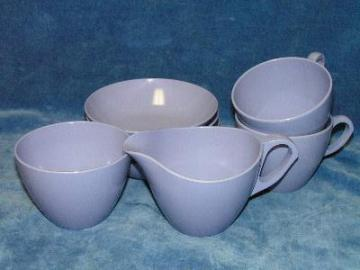 vintage retro melmac dishes, lavender pale violet