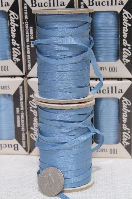 vintage ribbon yarn, spools of taffeta novelty needle art embroidery thread