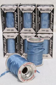 vintage ribbon yarn, spools of taffeta novelty needle art embroidery thread