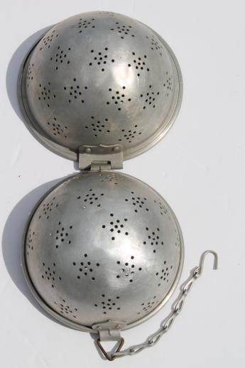 vintage rice ball rice mold made like a giant old metal tea ball / infuser basket