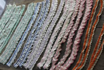 vintage rick-rack lace, handmade crochet edgings, colorful sewing trim for pillowcases