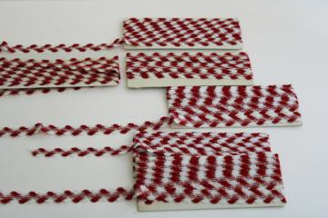 vintage rick-rack or braid trim, farmhouse style red & white gingham or houndstooth