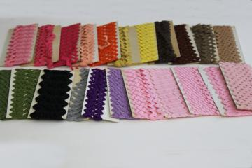 vintage rickrack sewing trim lot, retro southwest desert sunset colors