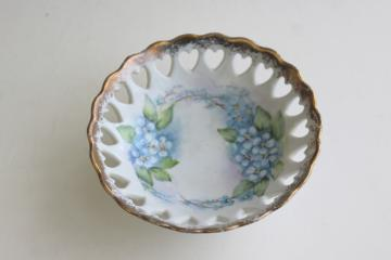 vintage ring dish, hand painted forget-me-nots china w/ hearts pierced border