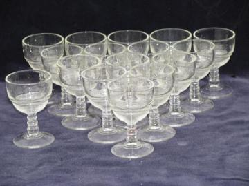 vintage ring pattern pressed glass sherry wine glasses, set of 16