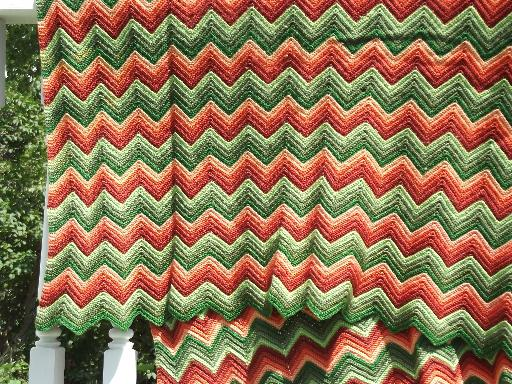 vintage ripple crochet afghan, retro striped shades of green & brown