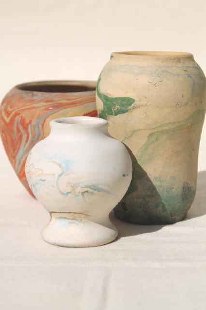 Vintage Roadside Pottery Arts Crafts Swirled Colors Clay Vases