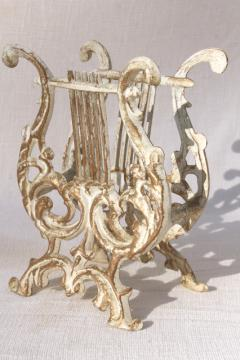 vintage rococo style cast metal lyre harp music stand / magazine rack, antique gold & white