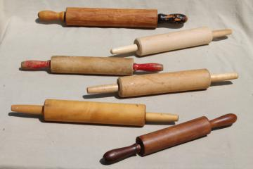 vintage rolling pins, old wood rolling pin collection, primitive kitchenware