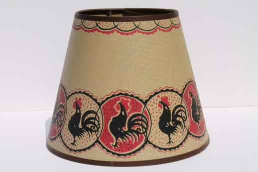 Vintage rooster chickens print paper lampshade clip on shade for a vintage rooster chickens print paper lampshade clip on shade for a small lamp aloadofball Image collections