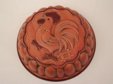 vintage rooster mold, retro kitchen ceramic mold rooster wall hanging