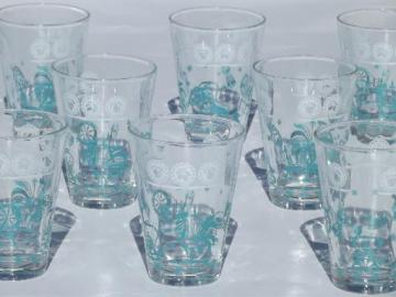 vintage rooster print drinking glasses, set of 8 aqua rooster tumblers