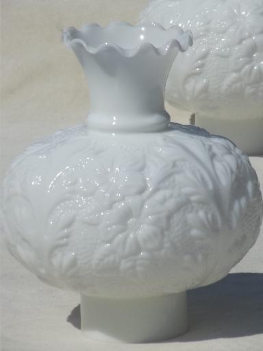 Vintage Rose Leaf Milk Glass Chimney Globe Shades For Gone