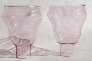 vintage rose pink cranberry glass candle sconce shades, lamp chimney hurricanes pair