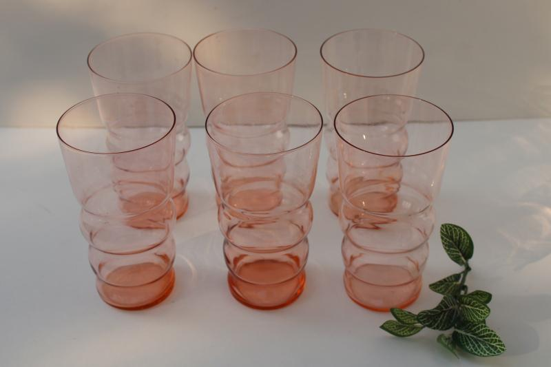 vintage rose pink depression glass flat tumblers, Federal Lido optic pattern?