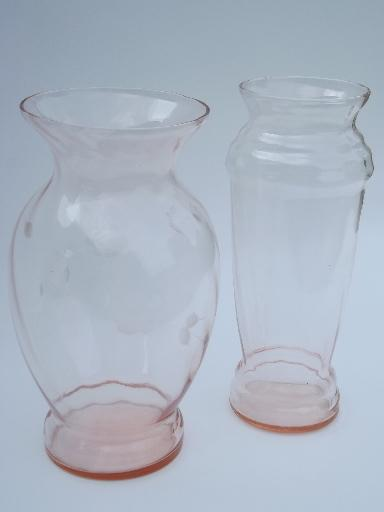 Vintage Rose Pink Depression Glass Flower Vase Lot Old Antique Vases