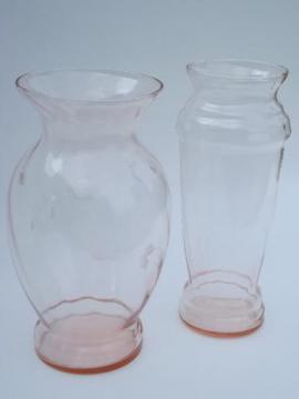 vintage rose pink depression glass flower vase lot, old antique vases