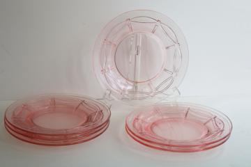 vintage rose pink glass luncheon or salad plates, spoke and swag pattern elegant glass