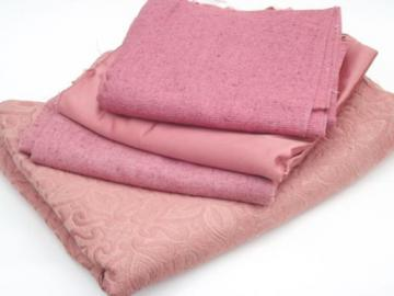 vintage rose pink upholstery fabric lot, linen weave, satin, brocade