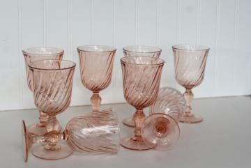 vintage rose pink wine glasses, Rosaline French glassware Cristal D'Arques