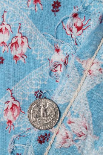 vintage rose print cotton feedsack fabric, sewn sack w/ original chain stitching