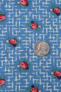 vintage rose sprig print cotton feedsack fabric, sewn sack w/ original chain stitching