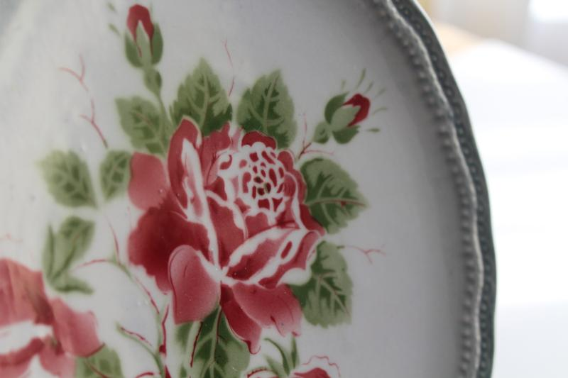 vintage rose stencil faience pottery plate, French country style w/ old Germany mark