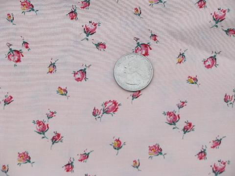 vintage rosebud floral print fabric, 40'' wide, drapey cotton / rayon or poly?