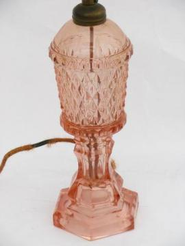 vintage rose-pink depression glass table lamp, original 1930s electric fittings