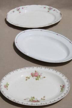 vintage roses china platters or serving trays, shabby mismatched antique rose floral dishes