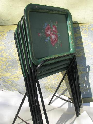 vintage roses on green tole litho print metal folding TV ...