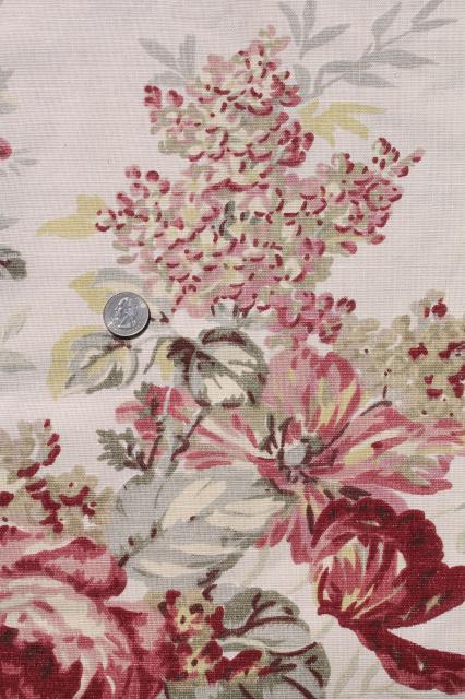 Vintage Roses Print Curtains Fabric Lot Waverly Norfolk Rose Shabby
