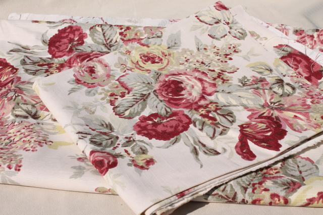 Vintage Roses Print Curtains Amp Fabric Lot Waverly Norfolk