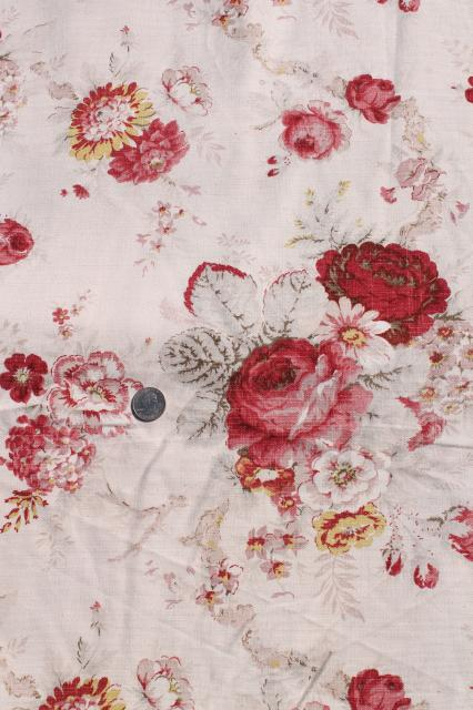 Vintage Roses Print Curtains Fabric Lot Waverly Norfolk Rose Shabby Chic Romantic Florals