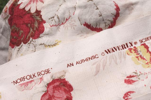 vintage roses print curtains & fabric lot, Waverly Norfolk Rose shabby chic romantic florals