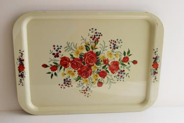 vintage roses print metal tray floral on creamy white, farmhouse cottage style