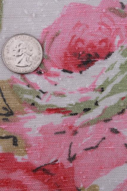 vintage roses print rayon barkcloth curtain panels, shabby cottage chic pink rose floral drapes