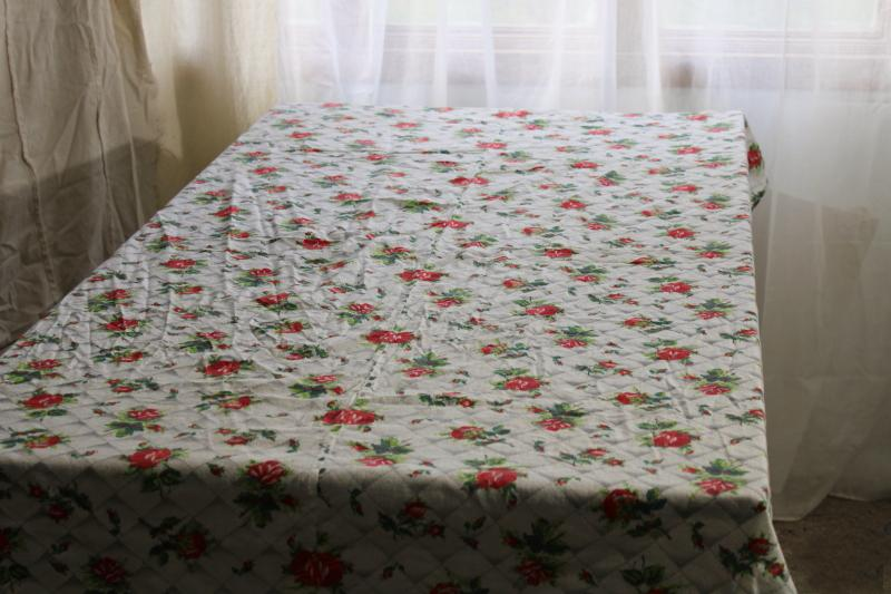 vintage roses print tablecloth, soft washed cotton fabric shabby country chic