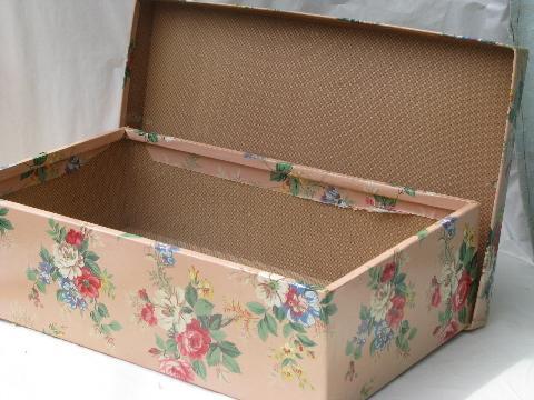 Vintage Roses Wallpaper Print Nesting Storage Boxes, Shabby Cottage Chic