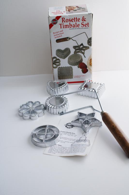 vintage rosette iron w/ patty shell molds & cookie shapes, instructions & recipe