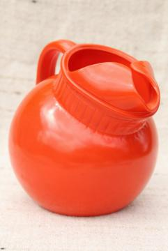 vintage round ball glass tilt pitcher, tomato orange red color kitchen glass jug for flower