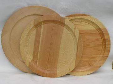 vintage round chargers wood trays lot, Swedish birch, Yugoslavian pine