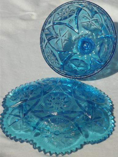 Vintage Round Covered Butter Dish Aqua Blue Star Glass