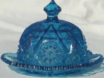 vintage round covered butter dish, aqua blue star glass dome & plate