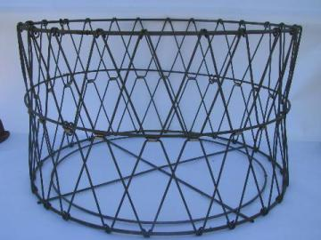 vintage round wire laundry basket, collapsible folding store display bin