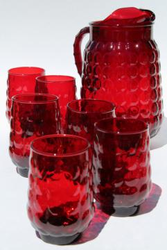 vintage royal ruby red Anchor Hocking bubble pattern glass lemonade pitcher & glasses