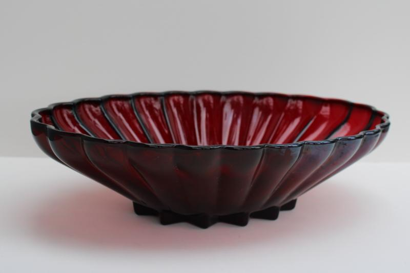 vintage royal ruby red Anchor Hocking glass, large oval bowl star scalloped Rachel pattern