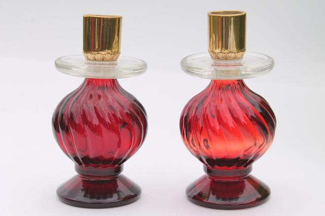 vintage royal ruby red Avon bottle candlesticks, swirl glass candle holders pair