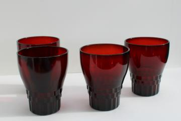 vintage royal ruby red Windsor pattern flat tumblers, set of four drinking glasses
